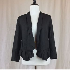 Anthropologie black ruffle blazer